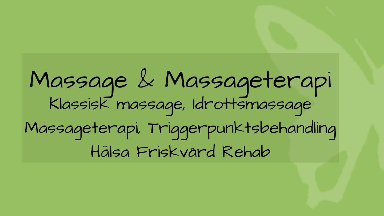 tjänsten massage och massageterapi med grön bakgrund och fjäril