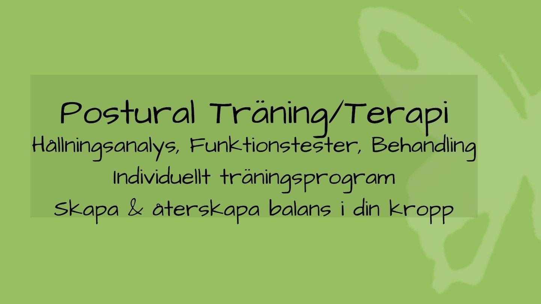 tjänsten postural träning/terapi med grön bakgrund och fjäril