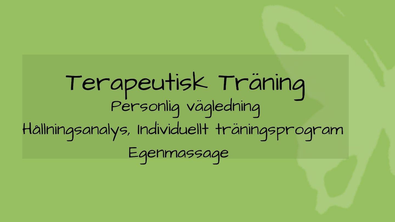 tjänsten terapeutisk träning med grön bakgrund och fjäril