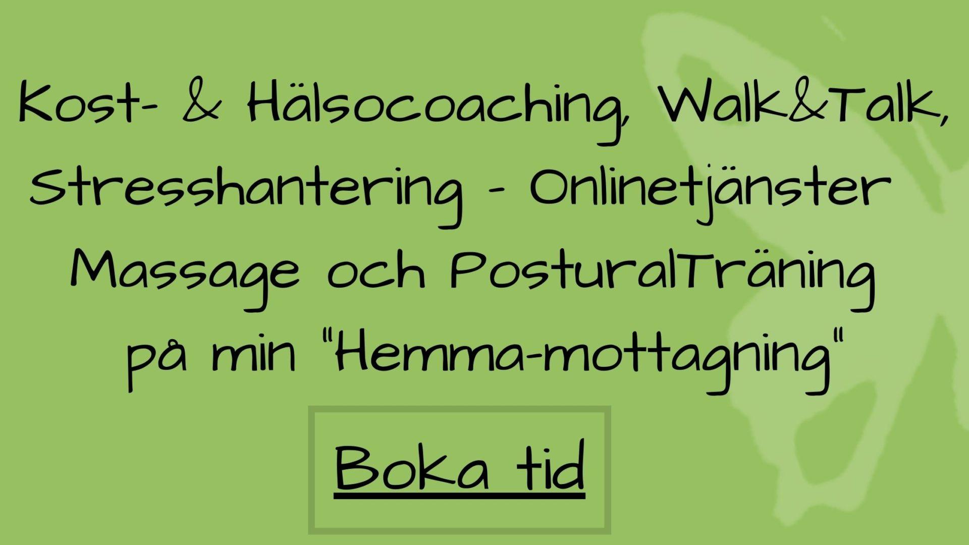 Boka Kost- & Hälsocoaching, stresshantering, onlinetjänster