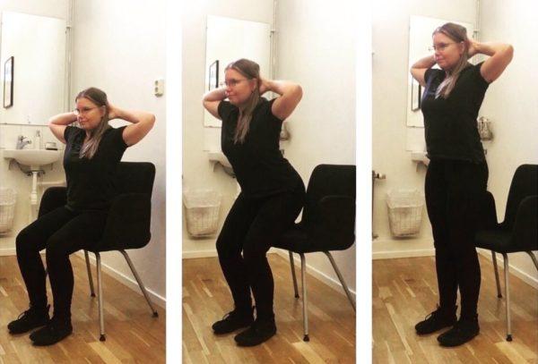 Nina utför standups med stol